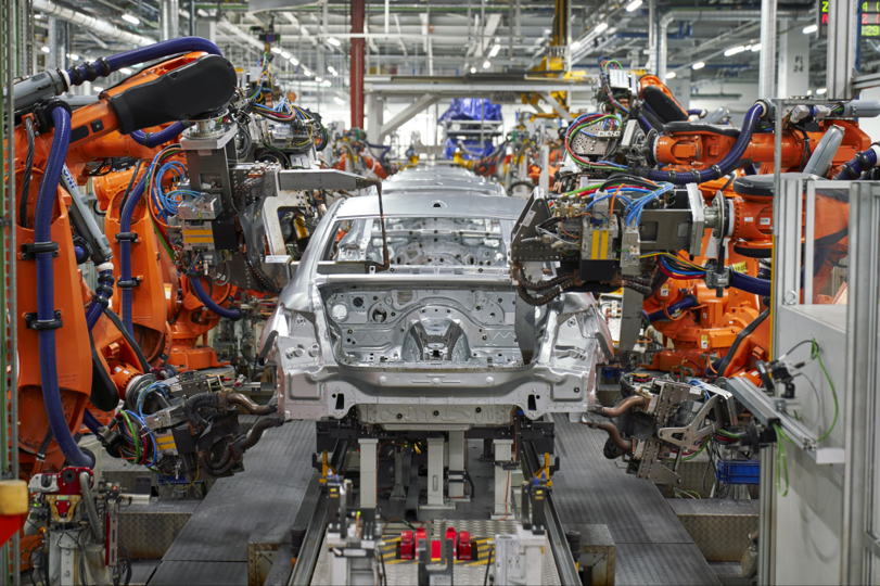 Welding car body of the all-new BMW 3 series at body shop, BMW Group Plant Munich
